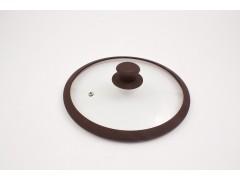 """Крышка стеклянная с коричневым силиконовым ободом  """"Tima"""" 24 см. (низкая)"""