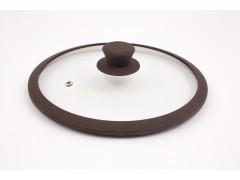"""Крышка стеклянная с коричневым силиконовым ободом  """"Tima"""" 26 см. (низкая)"""