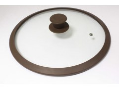 """Крышка стеклянная с коричневым силиконовым ободом  """"Tima"""" 28 см. (низкая)"""