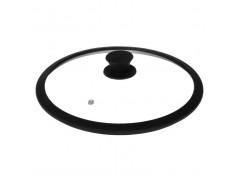 """Крышка стеклянная с чёрным силиконовым ободом  """"Tima"""" 28 см. (низкая)"""